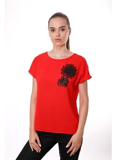 Clıche  İndigo Organze Çiçek Motifli Kısa Kollu Bluz Kırmızı